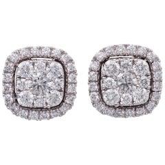0.75 Carat Diamonds White Gold Cluster Stud Earrings