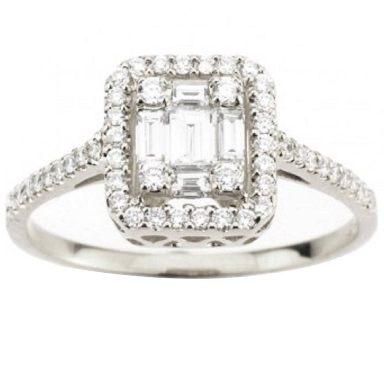 Baguette Diamond Cluster Ring For Sale