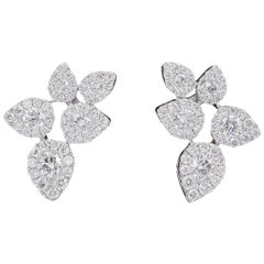 Flower Leaves Diamonds Cluster Studs Earrings