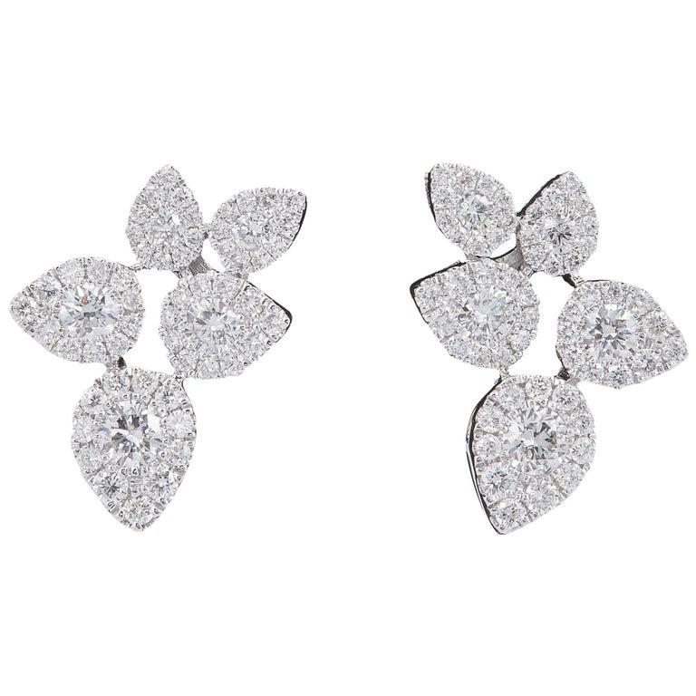 Flower Leaves Diamonds Cluster Studs Earrings