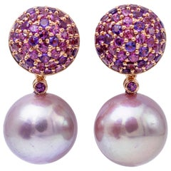 Fresh Water Pearl Rhodolite Amethyst Rose Gold Dangle Earrings