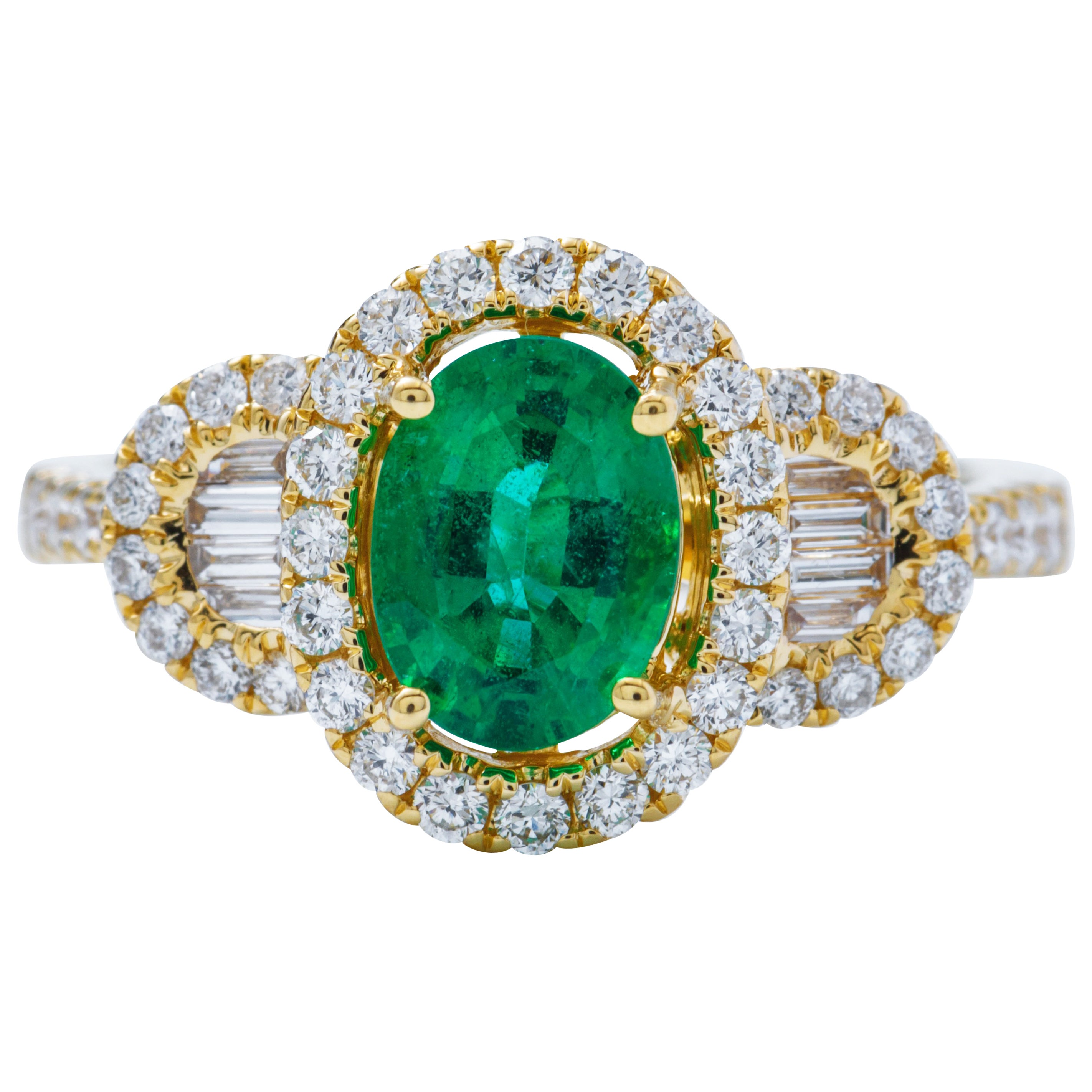 Oval Shape Emerald Diamond Yellow Gold Halo Cocktail Engagement Ring