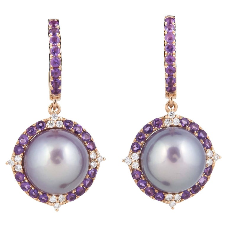 Amethyst and Fresh Water Pearl Dangle Diamond Earrings with Rose Gold