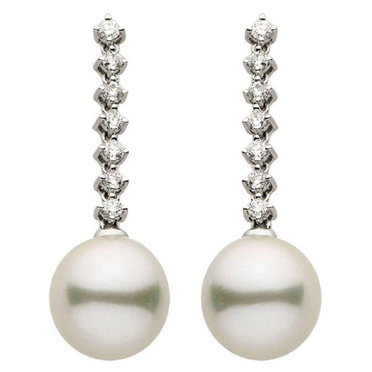 South Sea Pearl Diamond Gold Drop Earrings For Sale