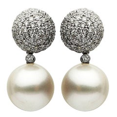 South Sea Pearl and Diamond Earring 2.56 Carat
