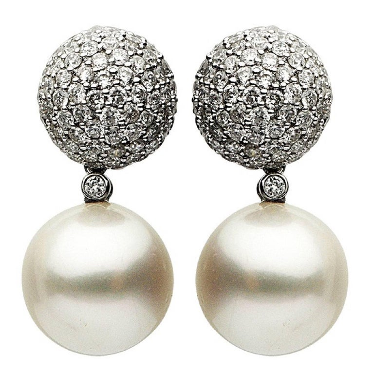 South Sea Pearl and Diamond Earring 2.56 Carat For Sale
