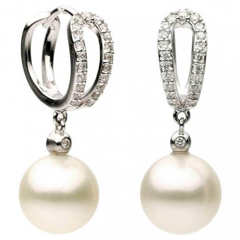 Freshwater Cultured Diamond Pearl Earring For