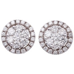 Diamond White Gold Studs Cluster Earrings