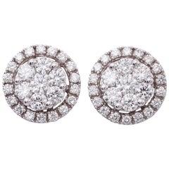 Diamond White Gold Studs Cluster Earrings