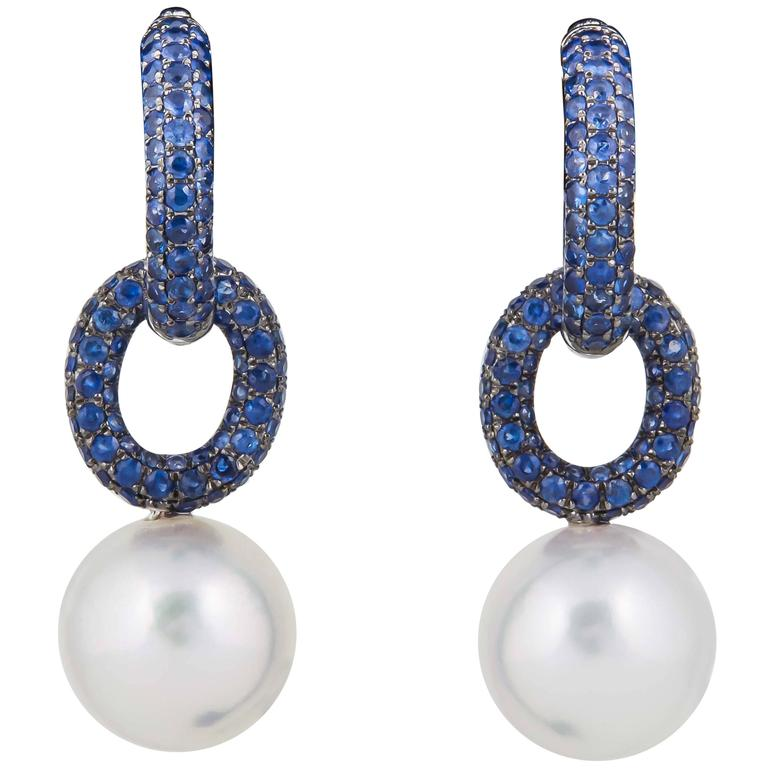 White South Sea Pearl Sapphire White Gold Double Hoop Earrings