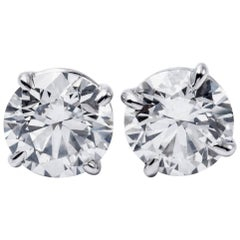 Diamond Studs H-I SI3 18 Karat White Gold 6.15 Carat