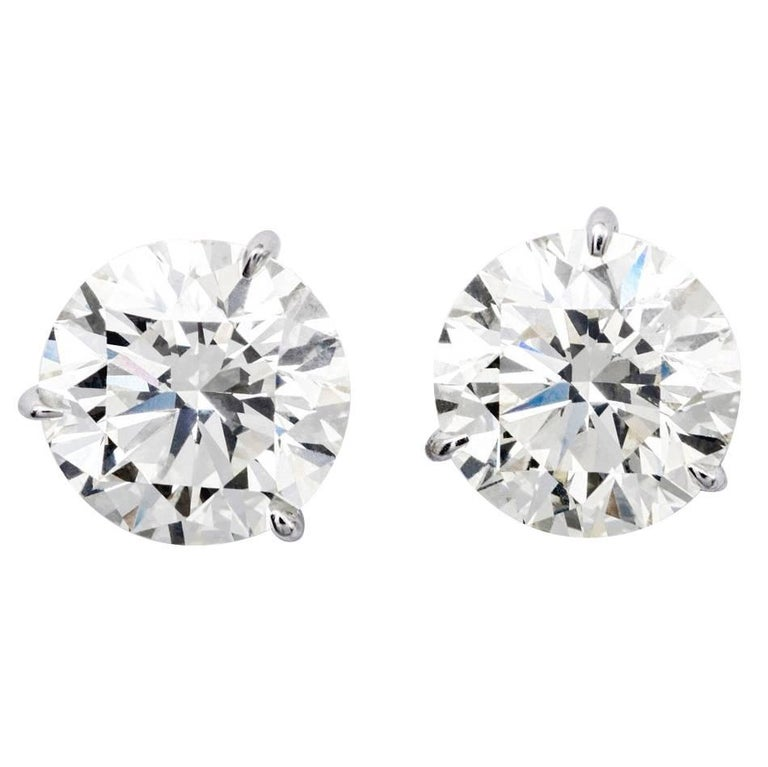 Brilliant Studs Earrings 4.24 Carat G-H/I1 GIA For Sale