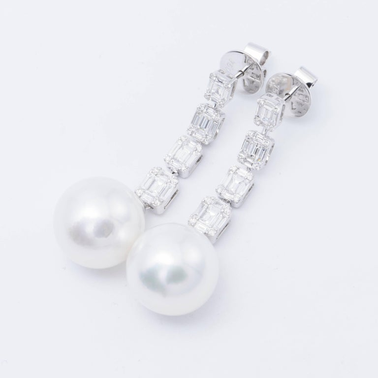 Baguette Cut Diamond Baguette and South Sea Pearl Drop Earrings For Sale