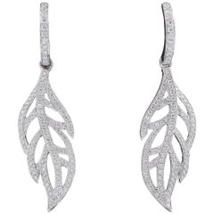 Dangle Diamond Leaves Drop Earrings, 1.14 Carats