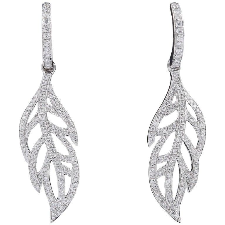 Dangle Diamond Leaves Drop Earrings 1 14 Carats For