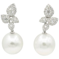 South Sea Pearl Cluster Leaf Dangle Drop Diamond Earrings