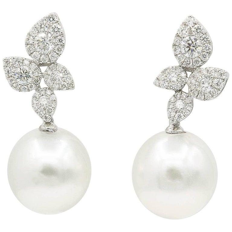 South Sea Pearl Cluster Leaf Dangle Drop Diamond Earrings