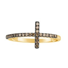 Champagne Diamond Cross Ring