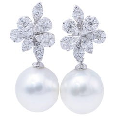 South Sea Pearl Diamond Cluster Earrings 2.14 Carat 18 Karat White Gold