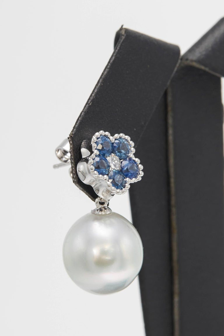 Round Cut Sapphire Flower Diamond South Sea Pearl Drop Earrings 1.96 Carat 18 Karat For Sale