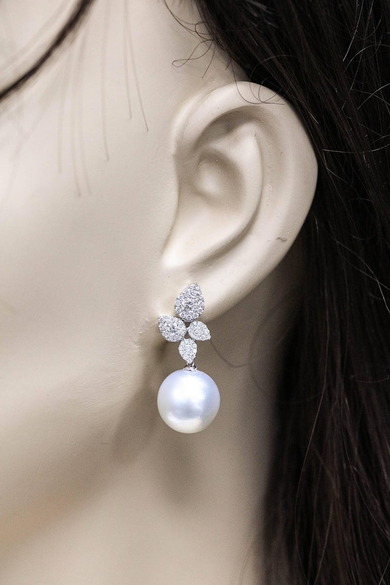 South Sea Pearl Diamond Cluster Leaf Earrings 1.05 CTS 18K For Sale 1