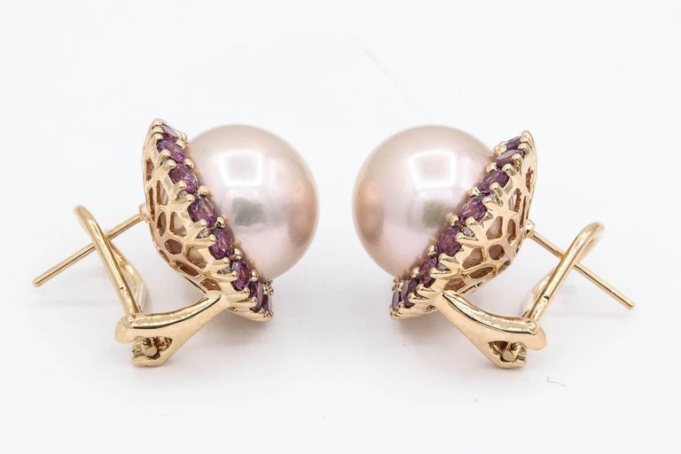 Rhodolite and Cultured Pearl Stud Earrings 3.82 Carats 18K In New Condition For Sale In New York, NY