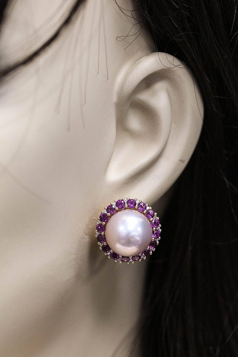 Women's or Men's Rhodolite and Cultured Pearl Stud Earrings 3.82 Carats 18K For Sale