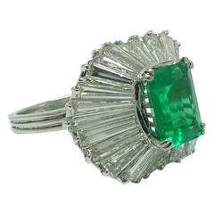 Certified 2.20 Carat Emerald-Cut Colombian Emerald Diamond Ballerina Ring
