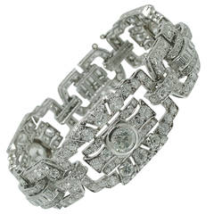 Classic Art Deco Pave Diamond Gold Bracelet
