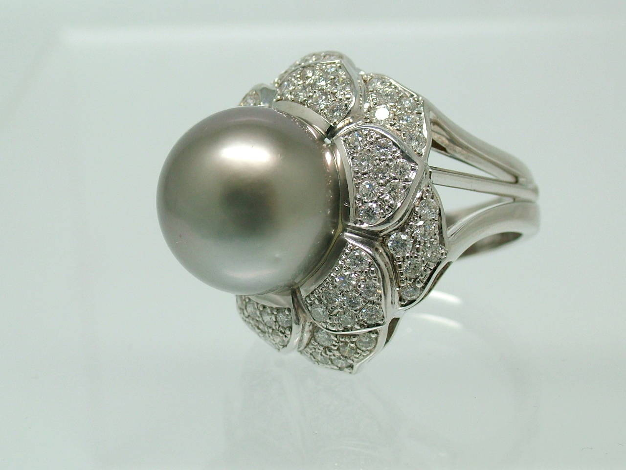 tahitian cultured pearl diamond white gold flower ring at. Black Bedroom Furniture Sets. Home Design Ideas
