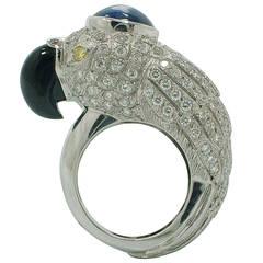 Onyx Blue Sapphire Diamond Gold Parrot Ring