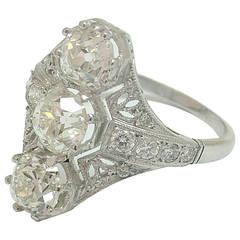 Three Stone Diamond Platinum Filigree Ring