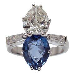 Toi et Moi Sapphire Diamond Gold Engagement Ring
