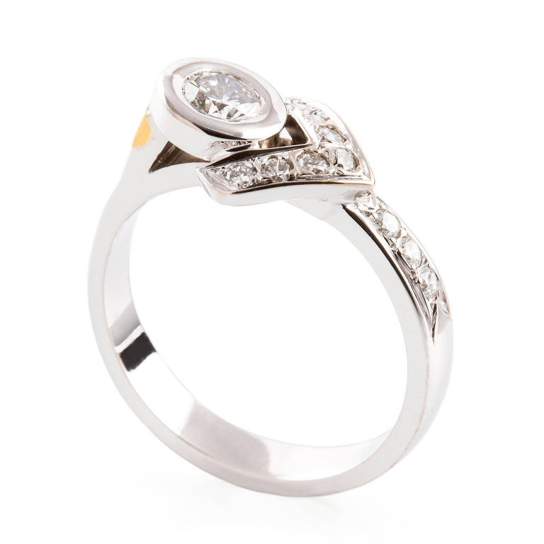 Kian Design 18 Carat White Gold Diamond Ring With 24 Yellow Inlay For