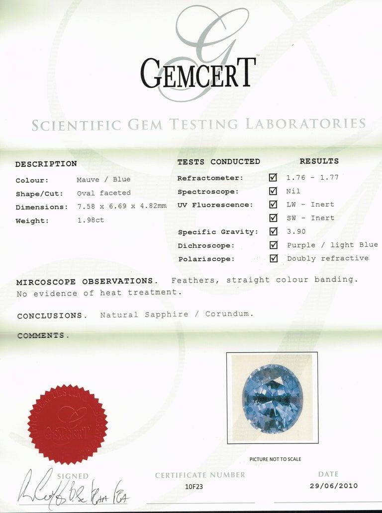 Contemporary Kian Design 1.98 Carat Ceylon Sapphire Diamond White Gold Engagement Ring For Sale