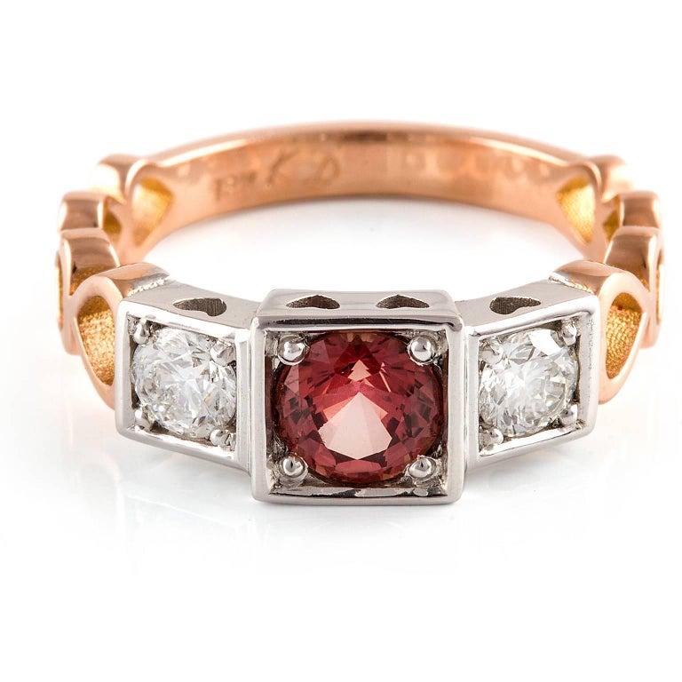 Contemporary Kian Design, 18 Carat Three Stones Orange Sapphire and Diamond Ring For Sale