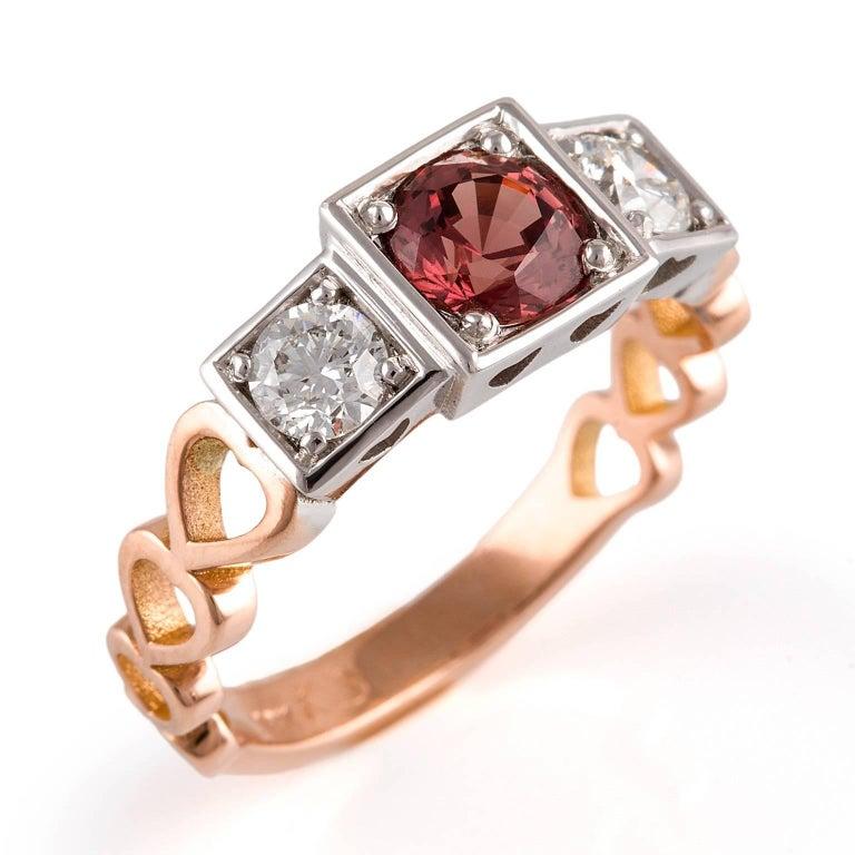 Kian Design, 18 Carat Three Stones Orange Sapphire and Diamond Ring In New Condition For Sale In South Perth, AU