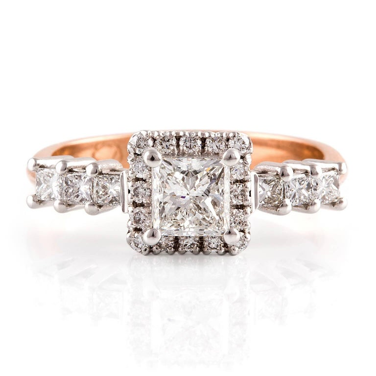 Piazza Diamond Ring  This gorgeous vintage style ring with 18ct white gold setting and rose gold band is set with a combination of princess and round brilliant cut diamonds.  Princess cut diamond: G colour, SI clarity, 0.72ct, 4.95 x