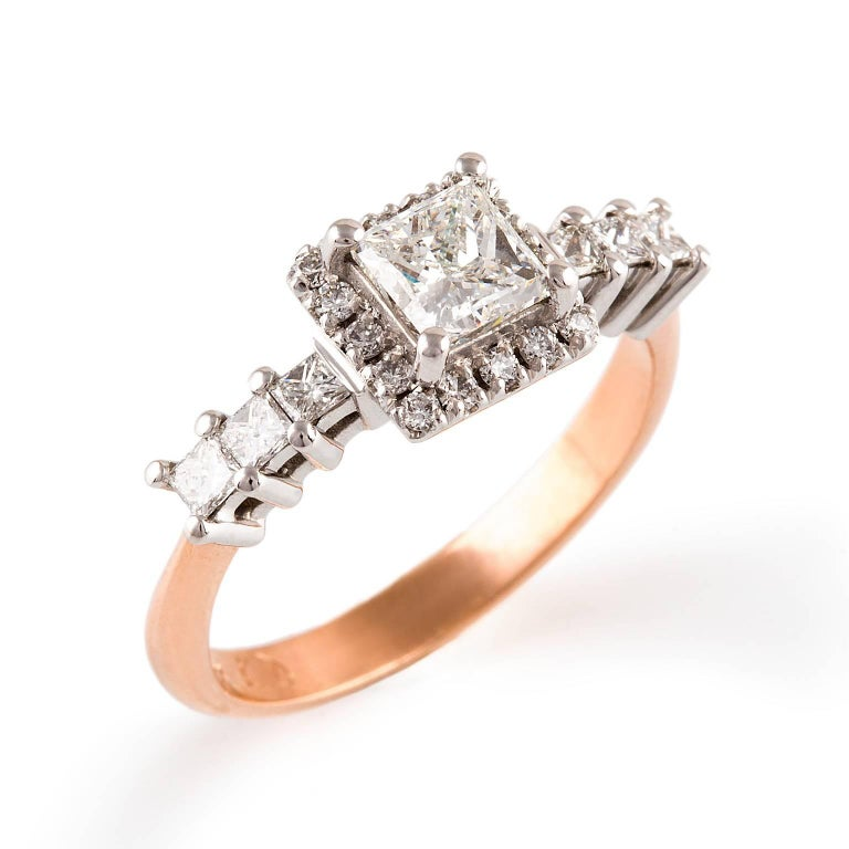 Contemporary Kian Design White Gold $ Rose Gold Princess Cut Halo Diamond Engagement Ring For Sale
