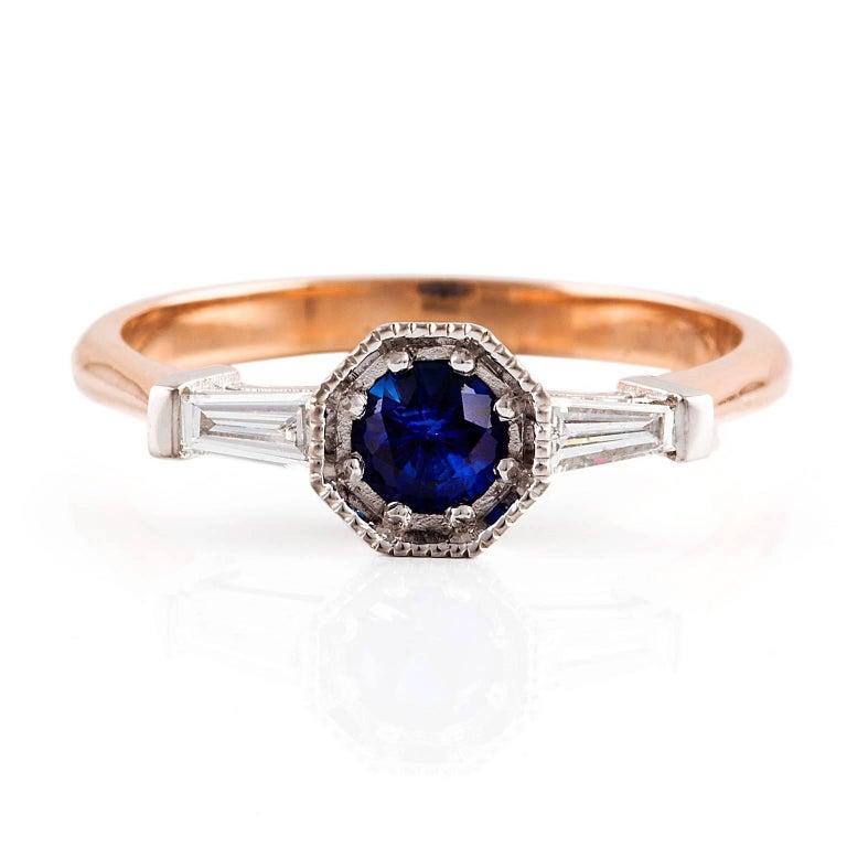 Kian Design 18 Carat Two-Tone Ceylon Sapphire Diamond Art Deco Ring In New Condition For Sale In South Perth, AU