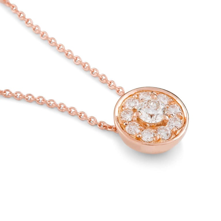 Rosa Halo Necklace  This gorgeous petite pendant features a stunning white round brilliant cut  diamond surrounded by a halo of white diamonds. The circular setting is suspended from an elegant 18 carat rose gold trace chain.  Round brilliant cut