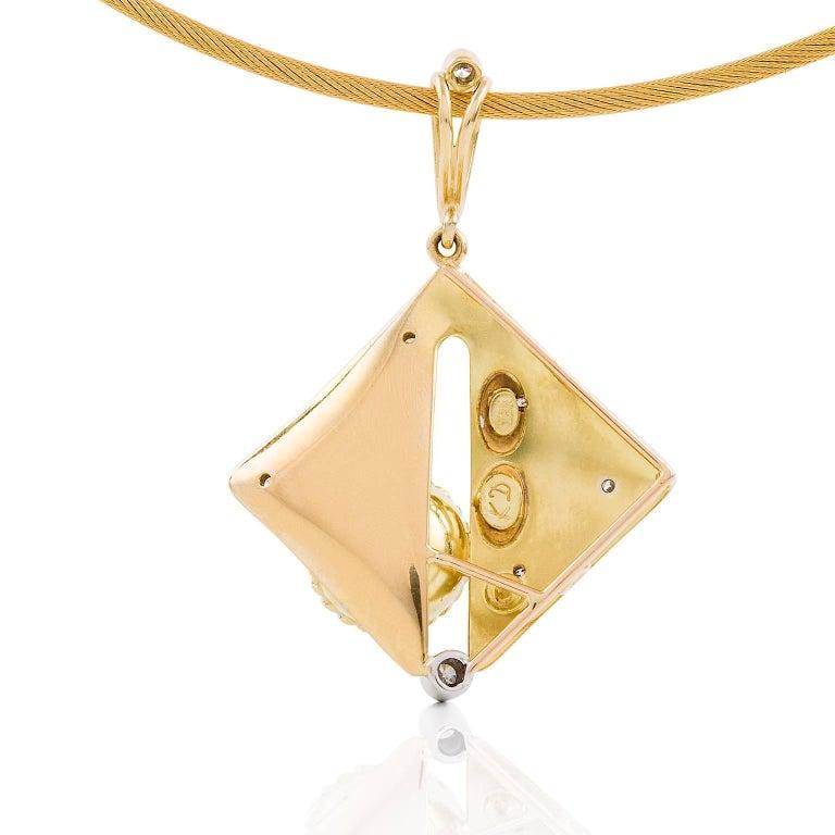 Art Deco Kian Design 18 Carat Two-Tone South Sea Pearl and Diamond Pendant  For Sale