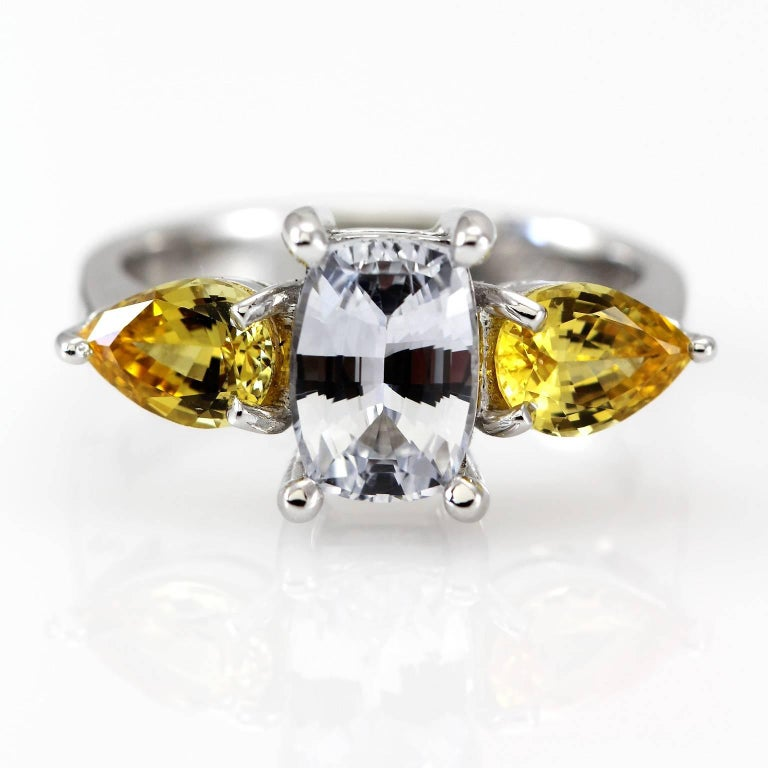 Art Deco Kian Design 18 Carat White Gold White and Yellow Sapphire Ring For Sale
