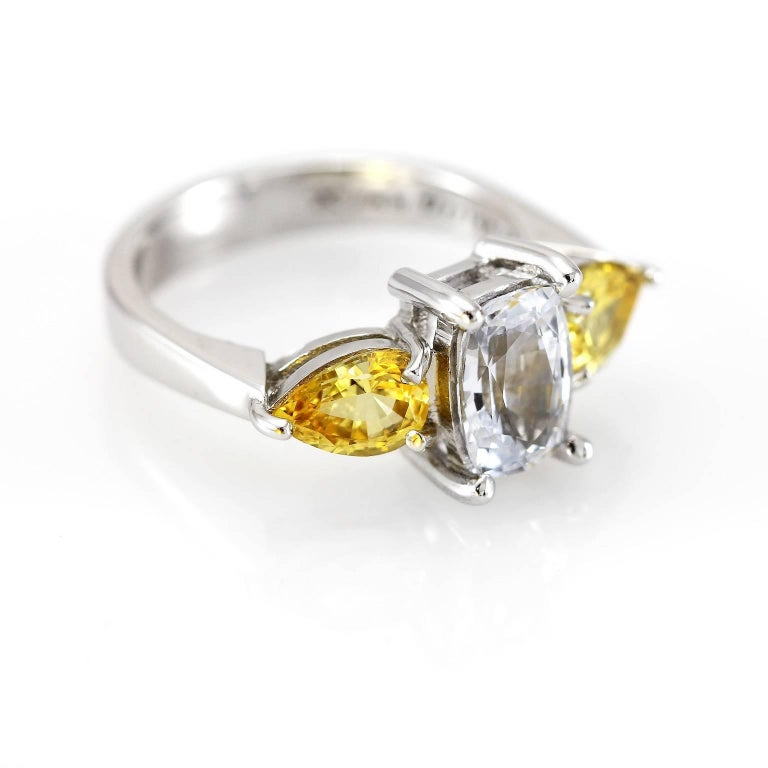 Cushion Cut Kian Design 18 Carat White Gold White and Yellow Sapphire Ring For Sale