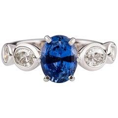 KIan Design 2.08 Carat Oval Cut Ceylon Sapphire Oval & Round Diamond Ring