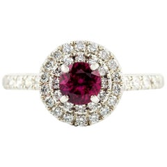 Kian Design Platinum Round Ruby and Diamond Halo Engagement Ring