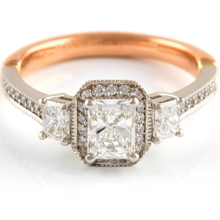Art Deco Kian Design Vintage Platinum and Rose Gold GIA Certified Diamond Ring For Sale