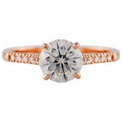 Kian Design Rose Gold 1.5 Carat GIA Certified Round Diamond Engagement Ring