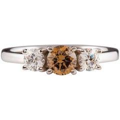 Kian Design 18 Carat Three Stones Cognac and White Round Diamond Engagement Ring