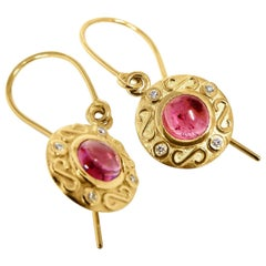 Kian Design 18 Carat Yellow Gold Tourmaline and Diamond Earrings